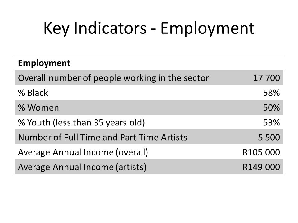 Key Indicators - Employment Employment Overall number of people working in the sector17 700 % Black58% % Women50% % Youth (less than 35 years old)53% Number of Full Time and Part Time Artists5 500 Average Annual Income (overall)R105 000 Average Annual Income (artists)R149 000