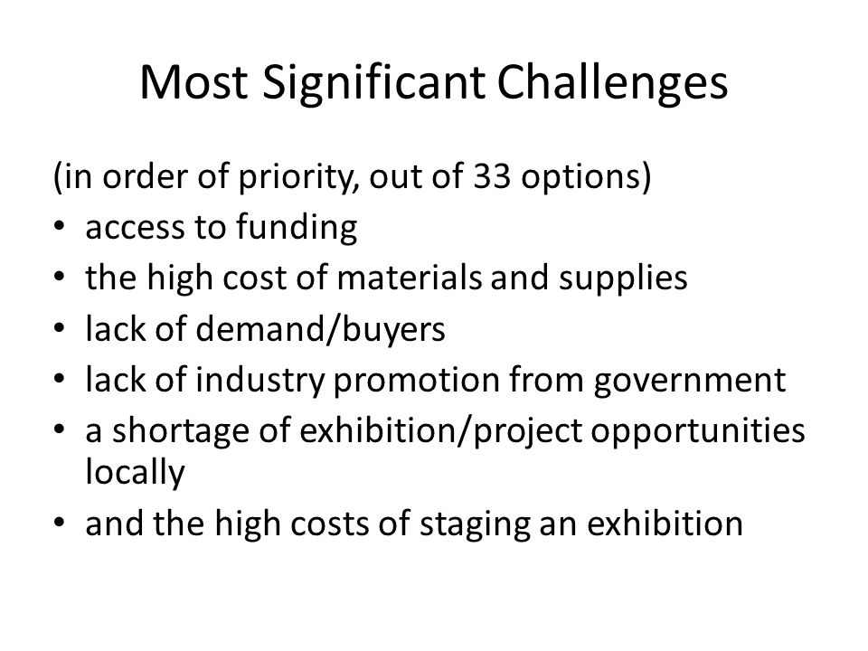 Most Significant Challenges (in order of priority, out of 33 options) access to funding the high cost of materials and supplies lack of demand/buyers lack of industry promotion from government a shortage of exhibition/project opportunities locally and the high costs of staging an exhibition