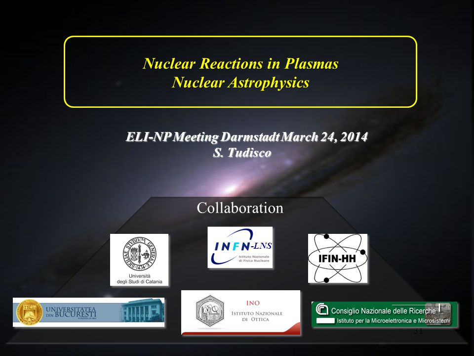 31 Nuclear Reactions in Plasmas Nuclear Astrophysics ELI-NP Meeting Darmstadt March 24, 2014 S.