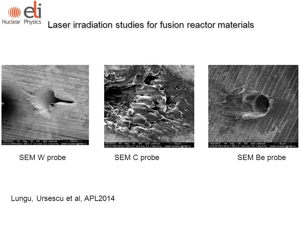 Laser irradiation studies for fusion reactor materials Lungu, Ursescu et al, APL2014 SEM W probe SEM C probe SEM Be probe