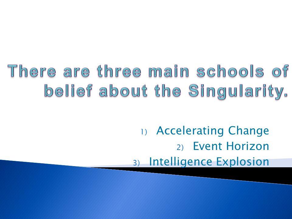 1) Accelerating Change 2) Event Horizon 3) Intelligence Explosion