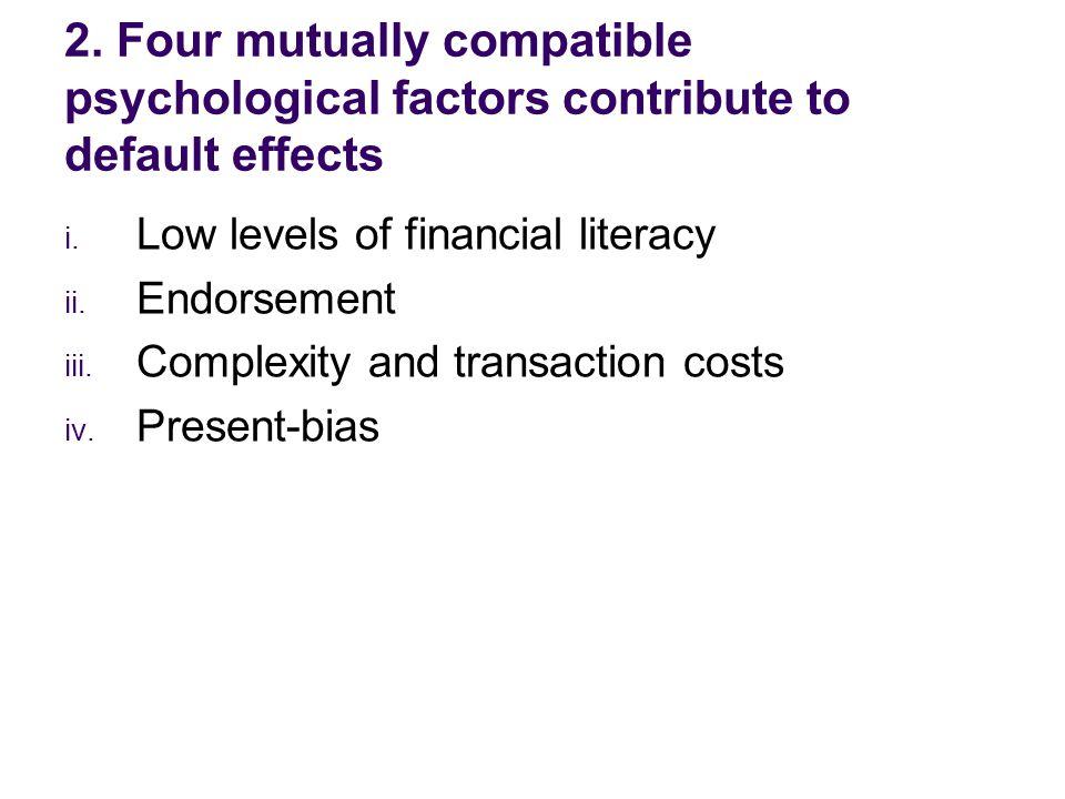 i. Low levels of financial literacy ii. Endorsement iii.