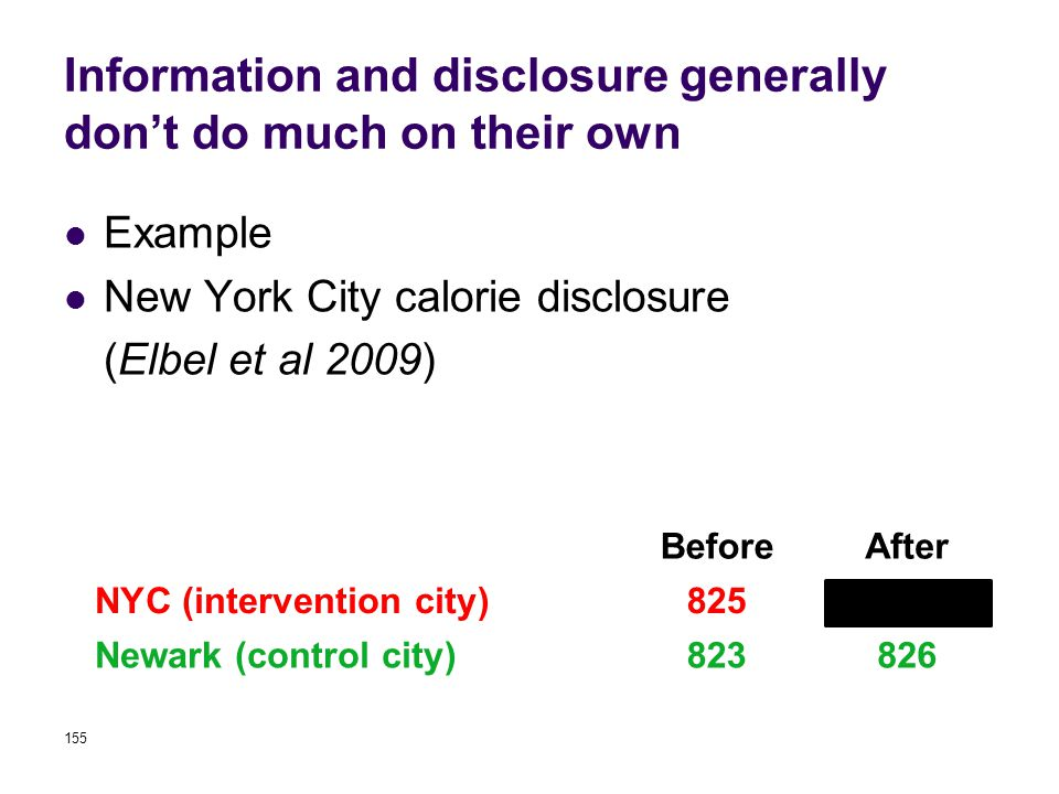 Information and disclosure generally don't do much on their own Example New York City calorie disclosure (Elbel et al 2009) 155 BeforeAfter NYC (intervention city)825846 Newark (control city)823826 Calories from fast food purchases