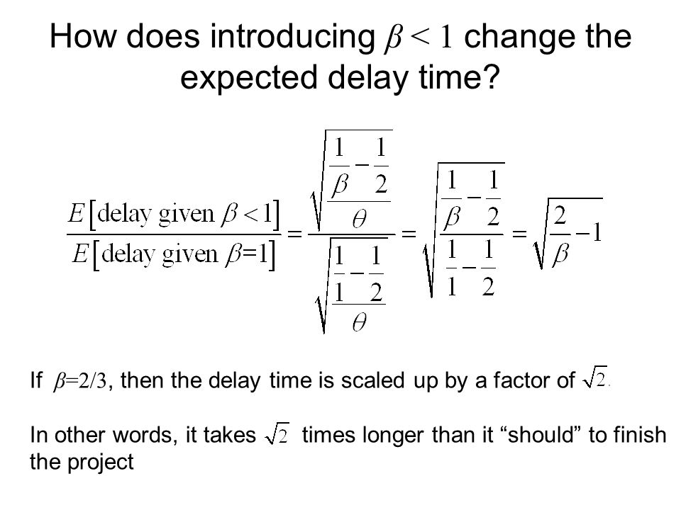 How does introducing β < 1 change the expected delay time? If β=2/3, then the delay time is scaled up by a factor of In other words, it takes times lo