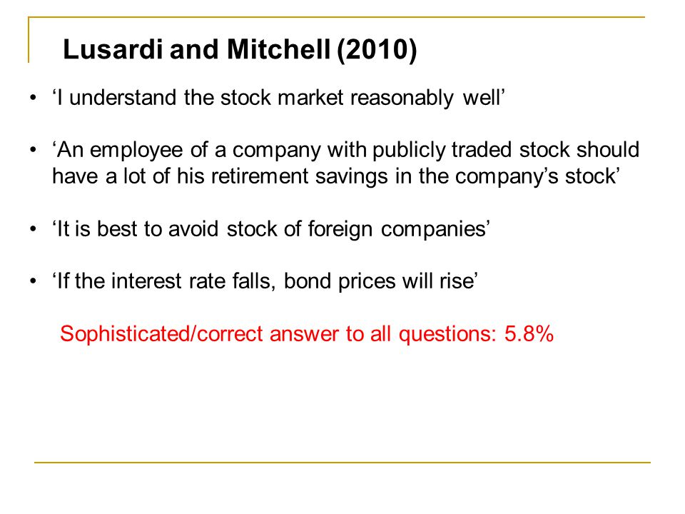 Lusardi and Mitchell (2010) 'I understand the stock market reasonably well' 'An employee of a company with publicly traded stock should have a lot of