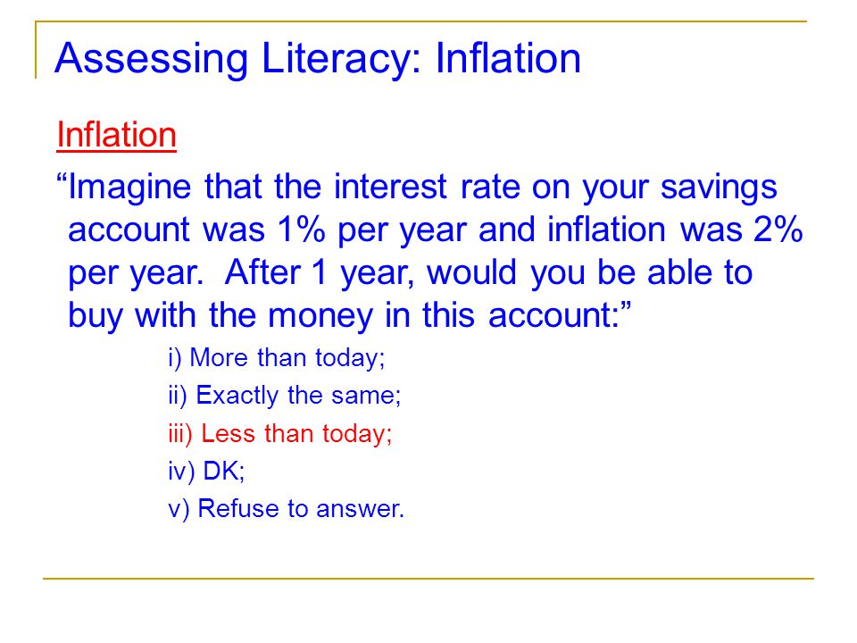 "Assessing Literacy: Inflation Inflation ""Imagine that the interest rate on your savings account was 1% per year and inflation was 2% per year. After 1"