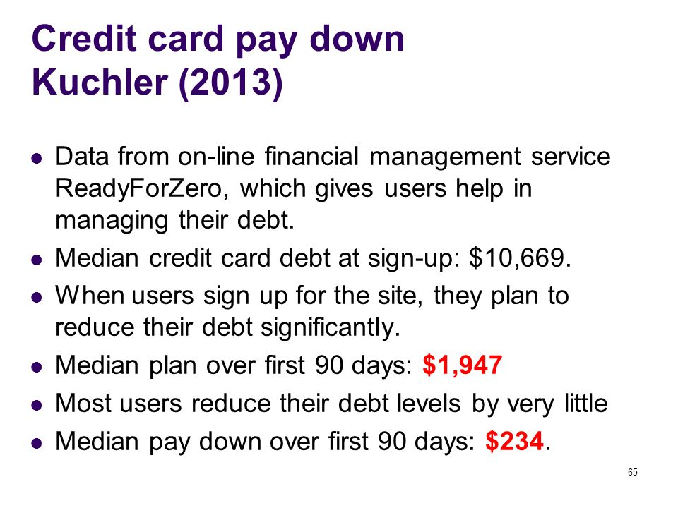 Credit card pay down Kuchler (2013) Data from on-line financial management service ReadyForZero, which gives users help in managing their debt.