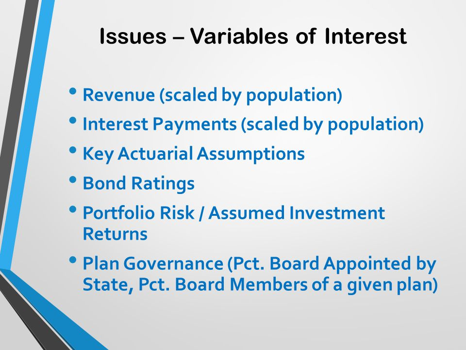 Issues – Variables of Interest Revenue (scaled by population) Interest Payments (scaled by population) Key Actuarial Assumptions Bond Ratings Portfoli