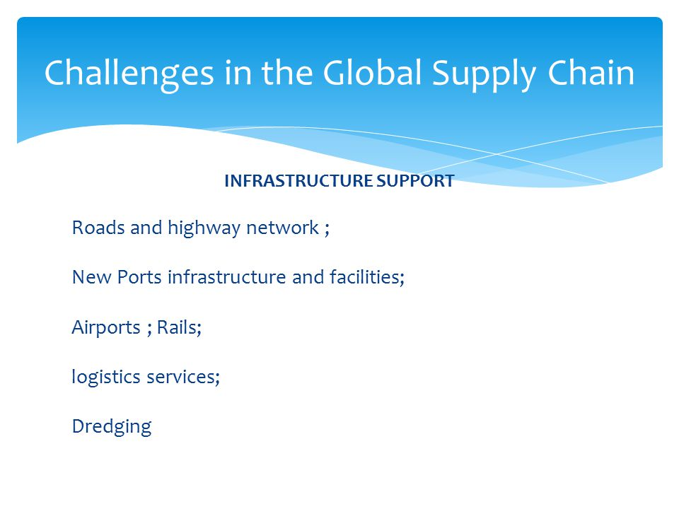 INFRASTRUCTURE SUPPORT Roads and highway network ; New Ports infrastructure and facilities; Airports ; Rails; logistics services; Dredging Challenges