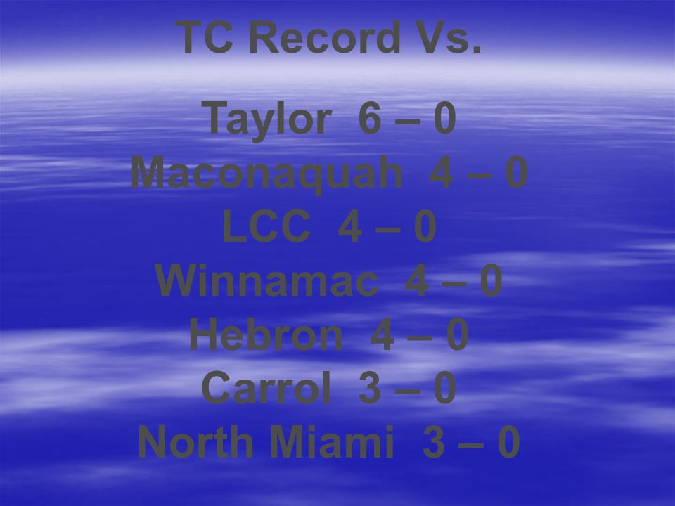 TC Record Vs. Taylor 6 – 0 Maconaquah 4 – 0 LCC 4 – 0 Winnamac 4 – 0 Hebron 4 – 0 Carrol 3 – 0 North Miami 3 – 0