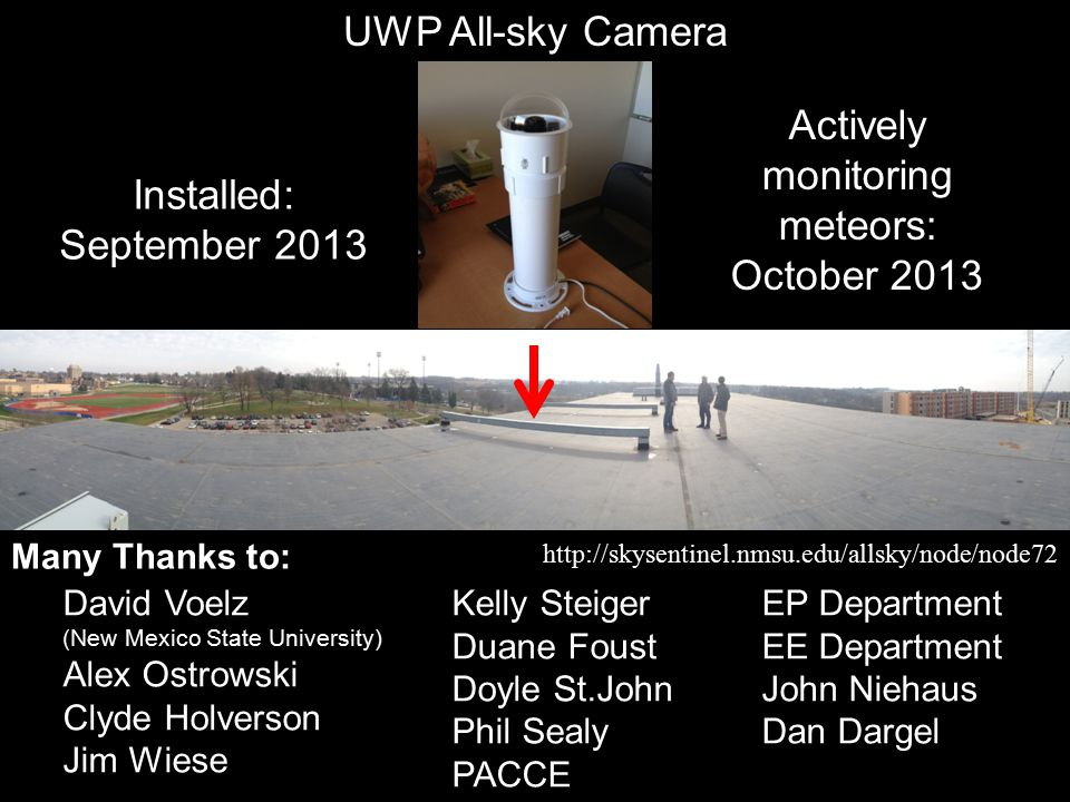 UWP All-sky Camera David Voelz (New Mexico State University) Alex Ostrowski Clyde Holverson Jim Wiese Kelly Steiger Duane Foust Doyle St.John Phil Sealy PACCE EP Department EE Department John Niehaus Dan Dargel Many Thanks to: http://skysentinel.nmsu.edu/allsky/node/node72 Installed: September 2013 Actively monitoring meteors: October 2013