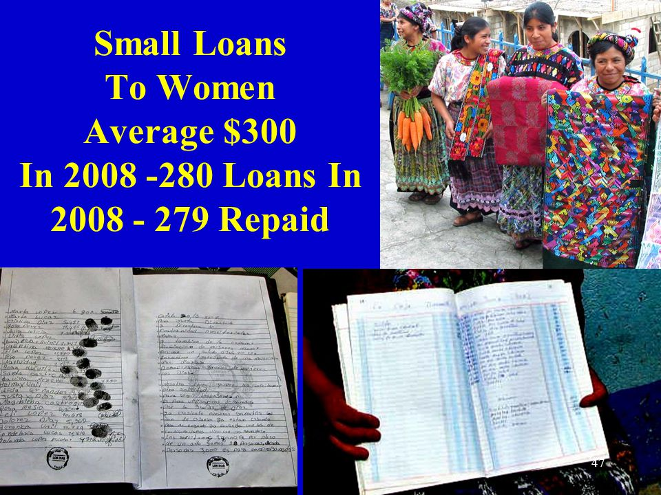 Small Loans To Women Average $300 In 2008 -280 Loans In 2008 - 279 Repaid 47