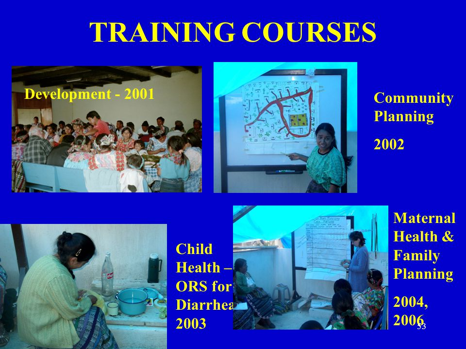 TRAINING COURSES Development - 2001 Child Health – ORS for Diarrhea 2003 Maternal Health & Family Planning 2004, 2006 Community Planning 2002 53