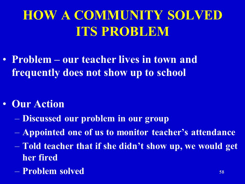 HOW A COMMUNITY SOLVED ITS PROBLEM Problem – our teacher lives in town and frequently does not show up to school Our Action –Discussed our problem in