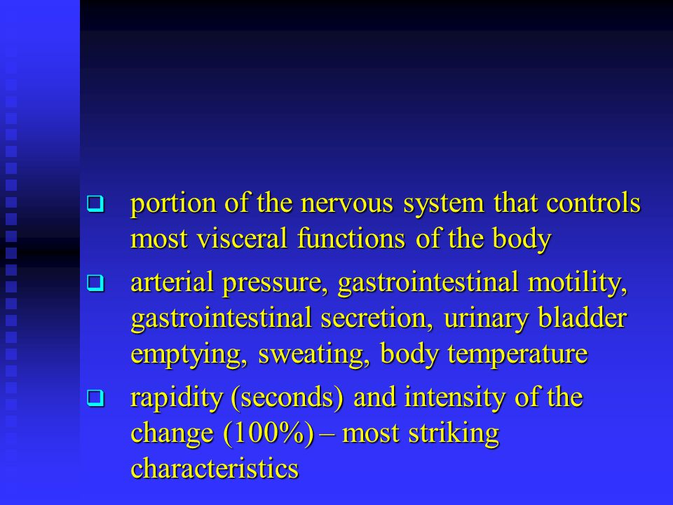 General Organization of the ANS  centers located in:  spinal cord  brain stem  hypothalamus  + limbic cortex  operates through visceral reflexes (subconscious)  sympathetic and parasympathetic nervous system