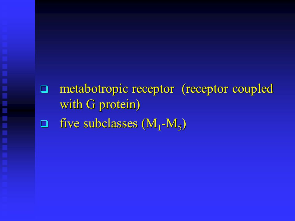  metabotropic receptor (receptor coupled with G protein)  five subclasses (M 1 -M 5 )