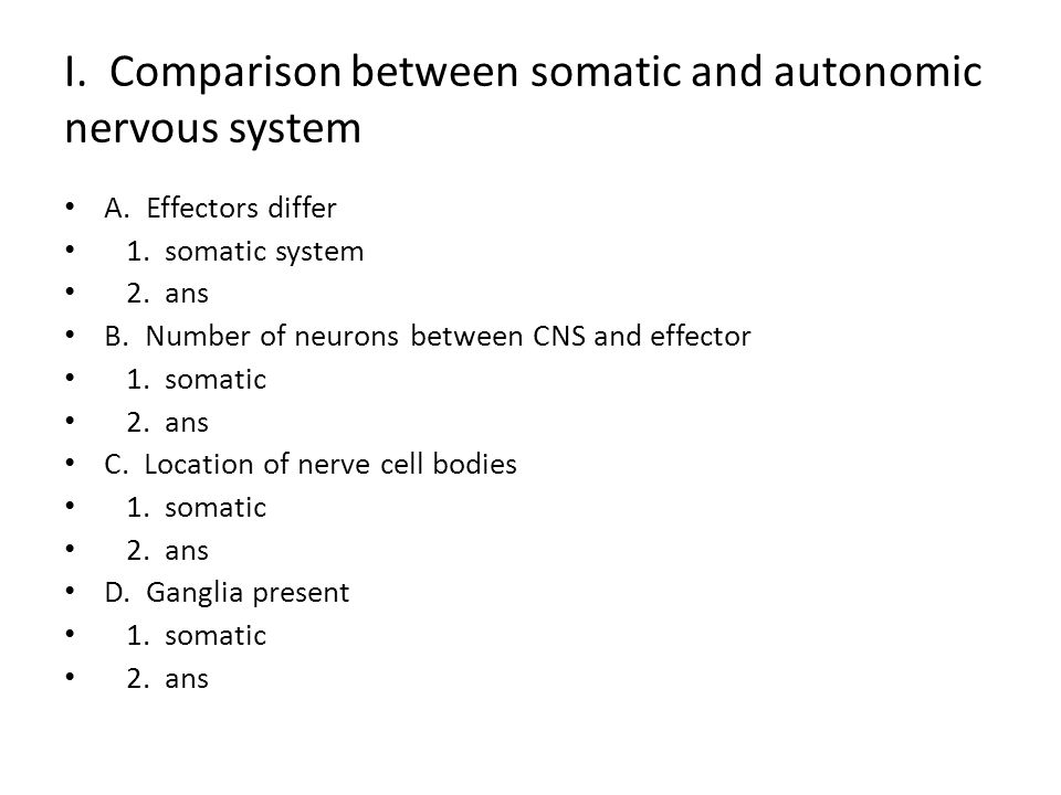 I. Comparison between somatic and autonomic nervous system A. Effectors differ 1. somatic system 2. ans B. Number of neurons between CNS and effector