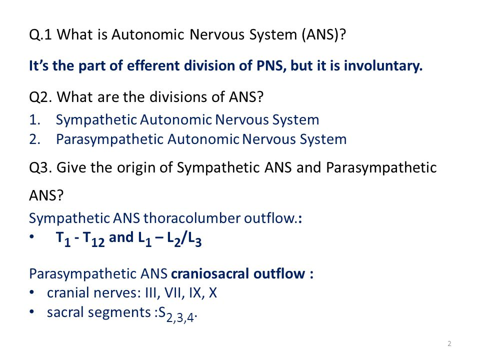 Q4.Draw diagram of Sympathetic and Parasympathetic ANS showing two neurons.