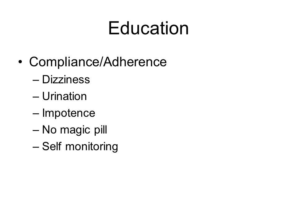 Education Compliance/Adherence –Dizziness –Urination –Impotence –No magic pill –Self monitoring