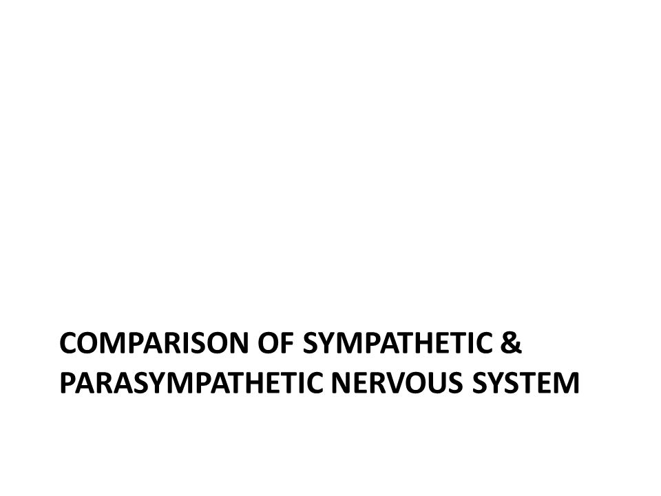 COMPARISON OF SYMPATHETIC & PARASYMPATHETIC NERVOUS SYSTEM