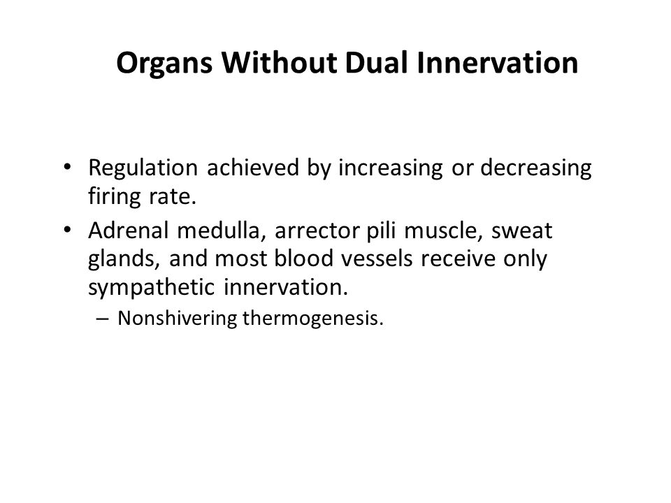 Organs Without Dual Innervation Regulation achieved by increasing or decreasing firing rate.