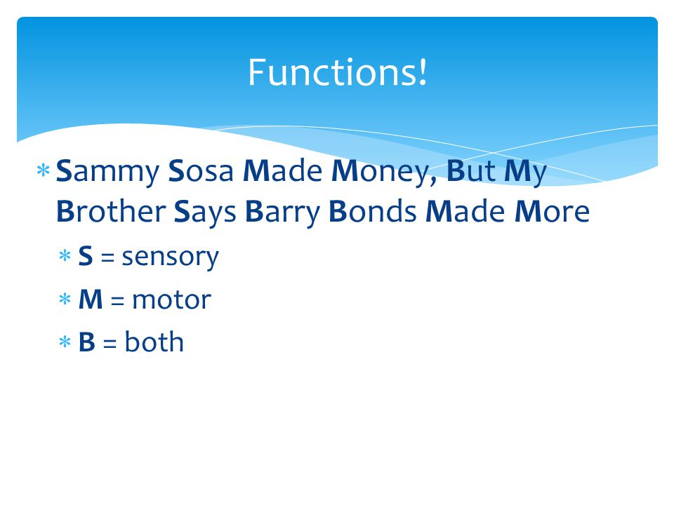  Sammy Sosa Made Money, But My Brother Says Barry Bonds Made More  S = sensory  M = motor  B = both Functions!