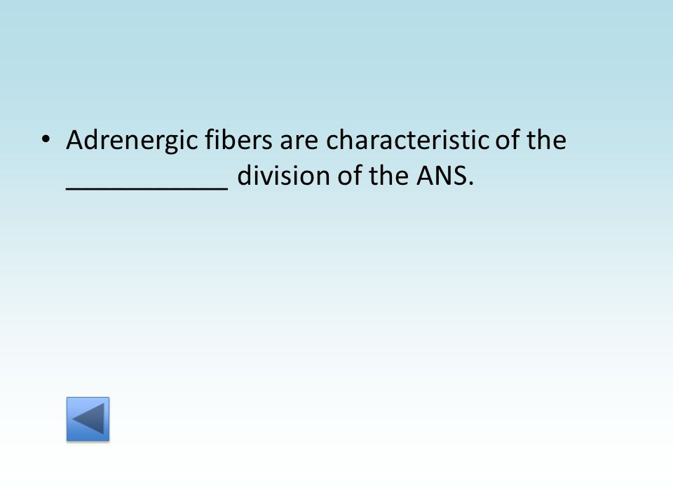 Adrenergic fibers are characteristic of the ___________ division of the ANS.