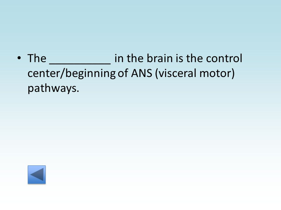 The __________ in the brain is the control center/beginning of ANS (visceral motor) pathways.
