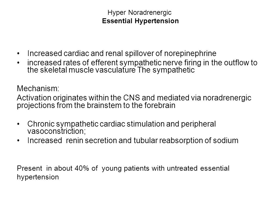 Hyper Noradrenergic Essential Hypertension Increased cardiac and renal spillover of norepinephrine increased rates of efferent sympathetic nerve firin