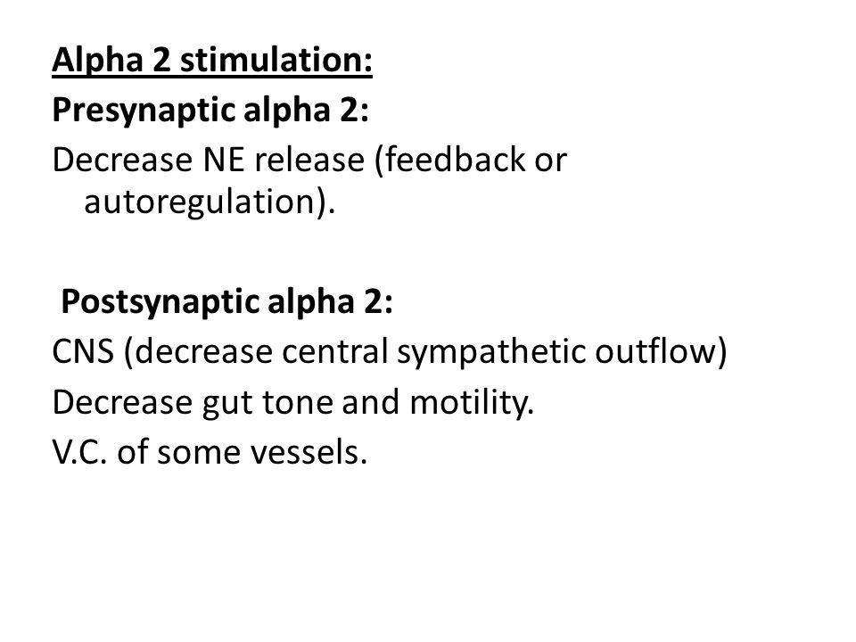 Alpha 2 stimulation: Presynaptic alpha 2: Decrease NE release (feedback or autoregulation).