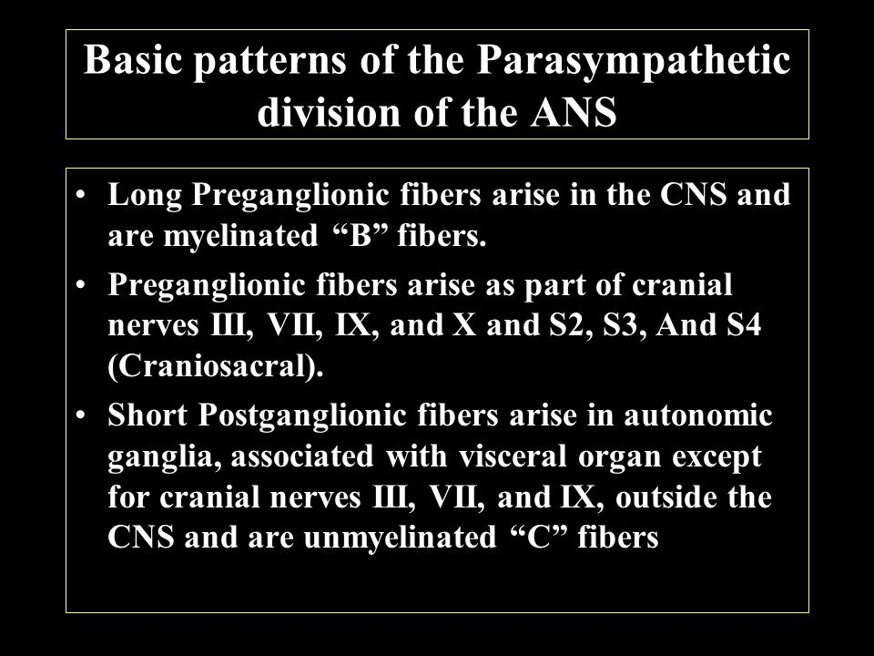 Comparison of the Sympathetic and Parasympathetic divisions of the ANS
