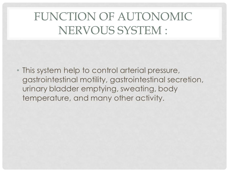FUNCTION OF AUTONOMIC NERVOUS SYSTEM : This system help to control arterial pressure, gastrointestinal motility, gastrointestinal secretion, urinary bladder emptying, sweating, body temperature, and many other activity.