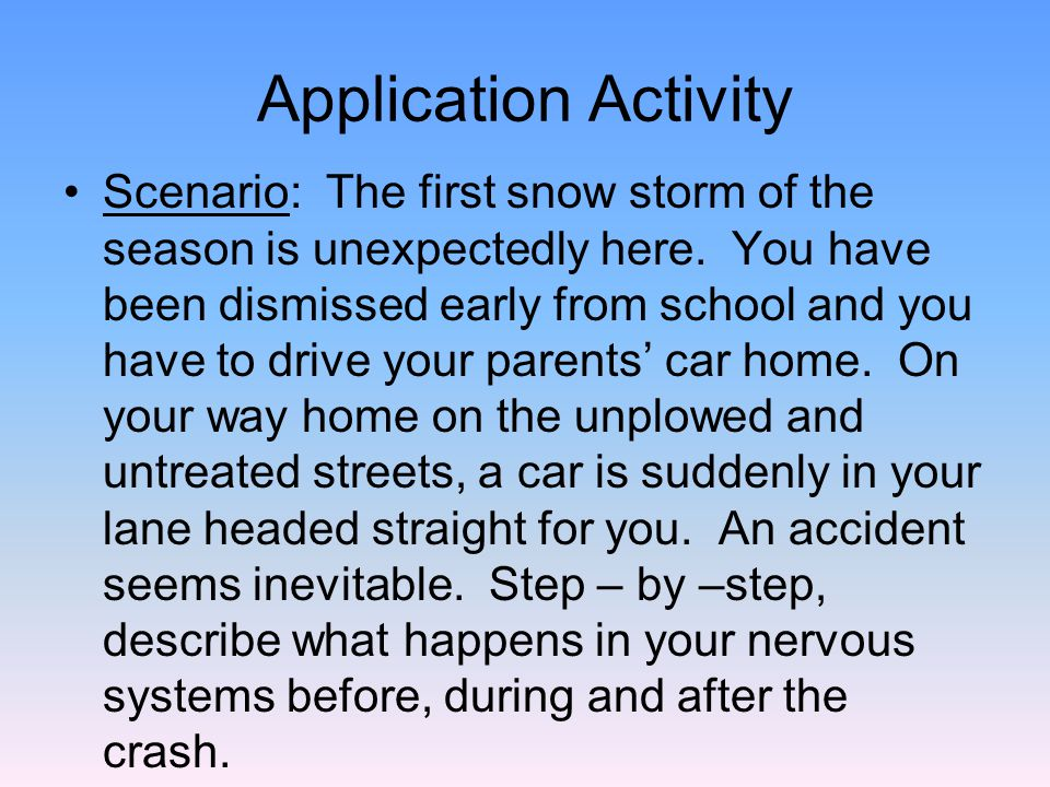 Application Activity Scenario: The first snow storm of the season is unexpectedly here.