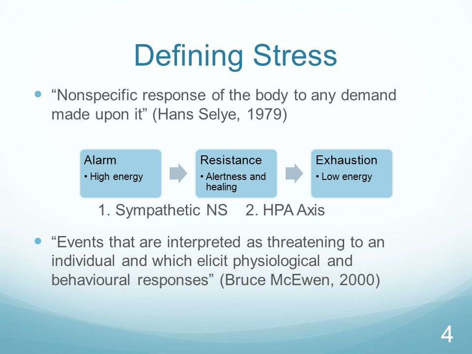 Defining Stress Nonspecific response of the body to any demand made upon it (Hans Selye, 1979) 1.
