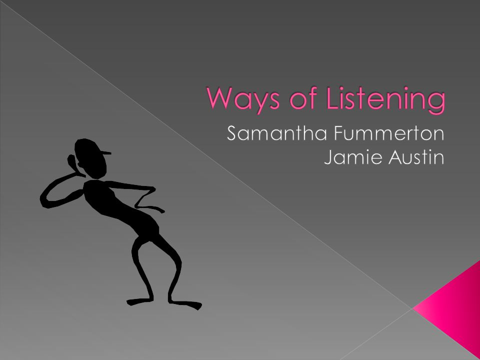 Informational Listening- Listening to learn something Critical Listening- Listening with the goal of evaluating or analyzing what we hear Empathetic Listening- Listening to experience what another person is thinking or feeling