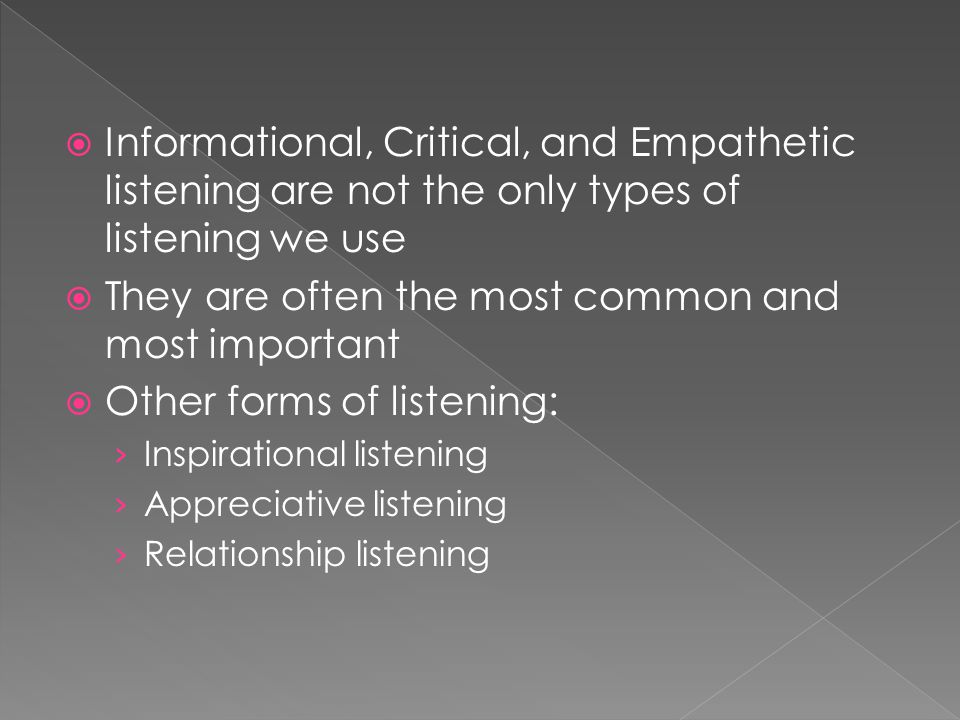 HURRIER model (Developed by Judi Brownell) Hearing- Physically perceiving sound Understanding-Comprehending the words we've heard Interpreting- Assigning meaning to what we've heard Evaluating-Judging the speaker's credibility and intention Remembering-Storing ideas in memory Responding-Indicating that we are listening