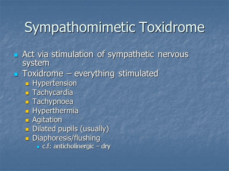 Sympathomimetic Toxidrome Act via stimulation of sympathetic nervous system Act via stimulation of sympathetic nervous system Toxidrome – everything s