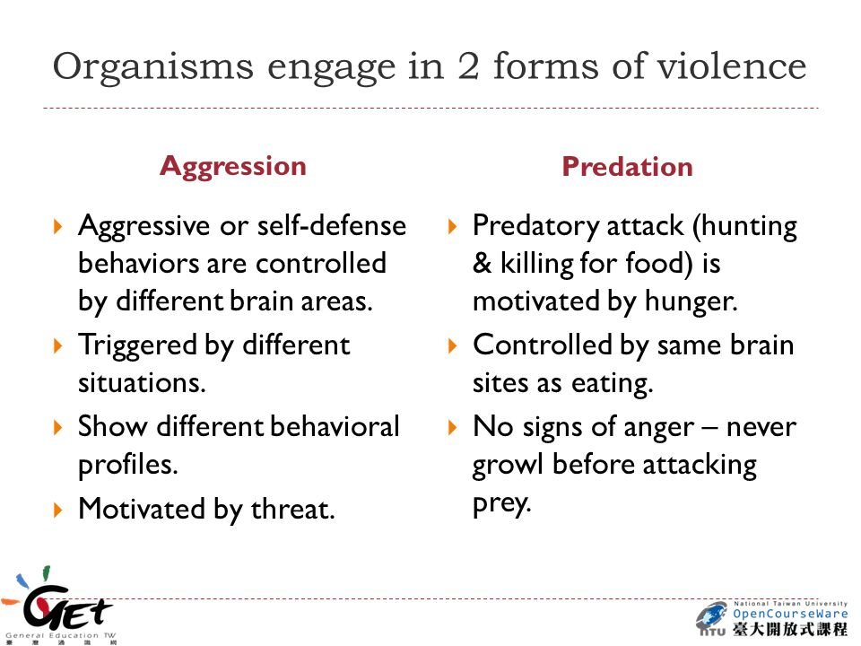 Organisms engage in 2 forms of violence Aggression Predation  Aggressive or self-defense behaviors are controlled by different brain areas.