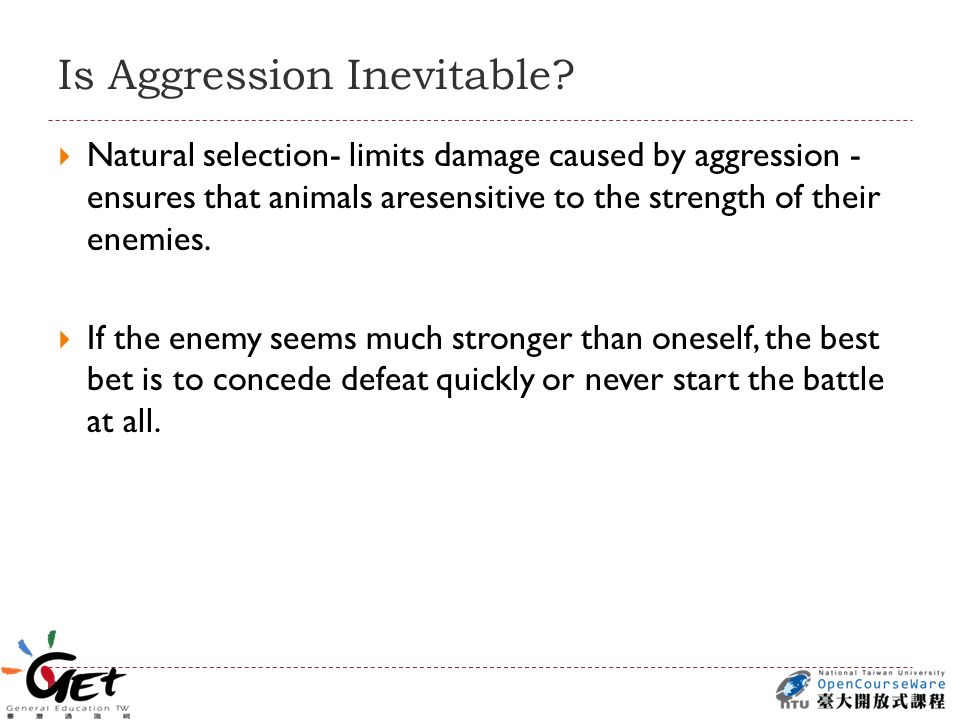 Is Aggression Inevitable.