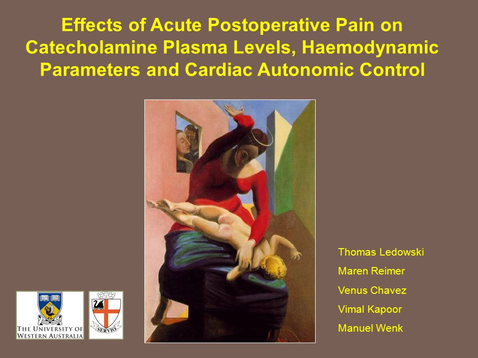 Effects of Acute Postoperative Pain on Catecholamine Plasma Levels, Haemodynamic Parameters and Cardiac Autonomic Control Thomas Ledowski Maren Reimer