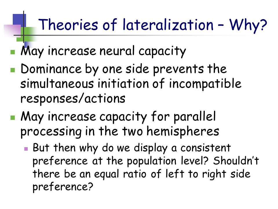 Theories of lateralization – Why.
