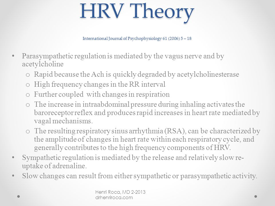 Heart Rate Variability (HRV) P. Rainville et al.