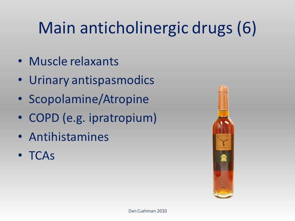 Main anticholinergic drugs (6) Muscle relaxants Urinary antispasmodics Scopolamine/Atropine COPD (e.g.