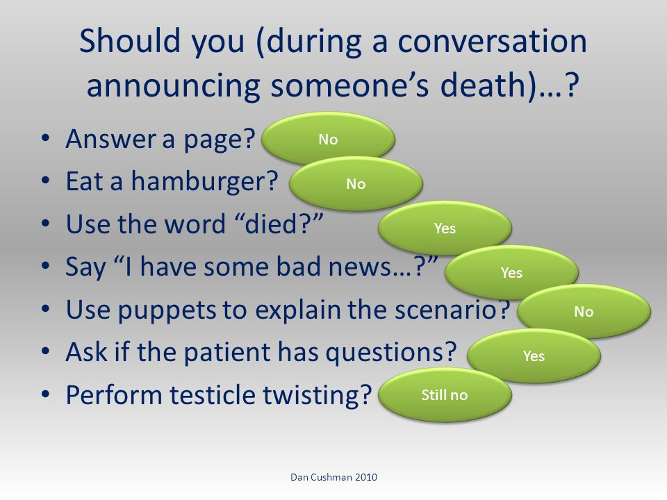 Should you (during a conversation announcing someone's death)….