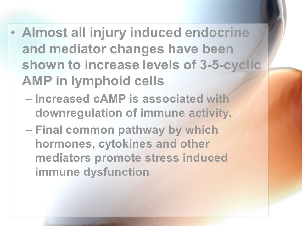 Almost all injury induced endocrine and mediator changes have been shown to increase levels of 3-5-cyclic AMP in lymphoid cells –Increased cAMP is associated with downregulation of immune activity.
