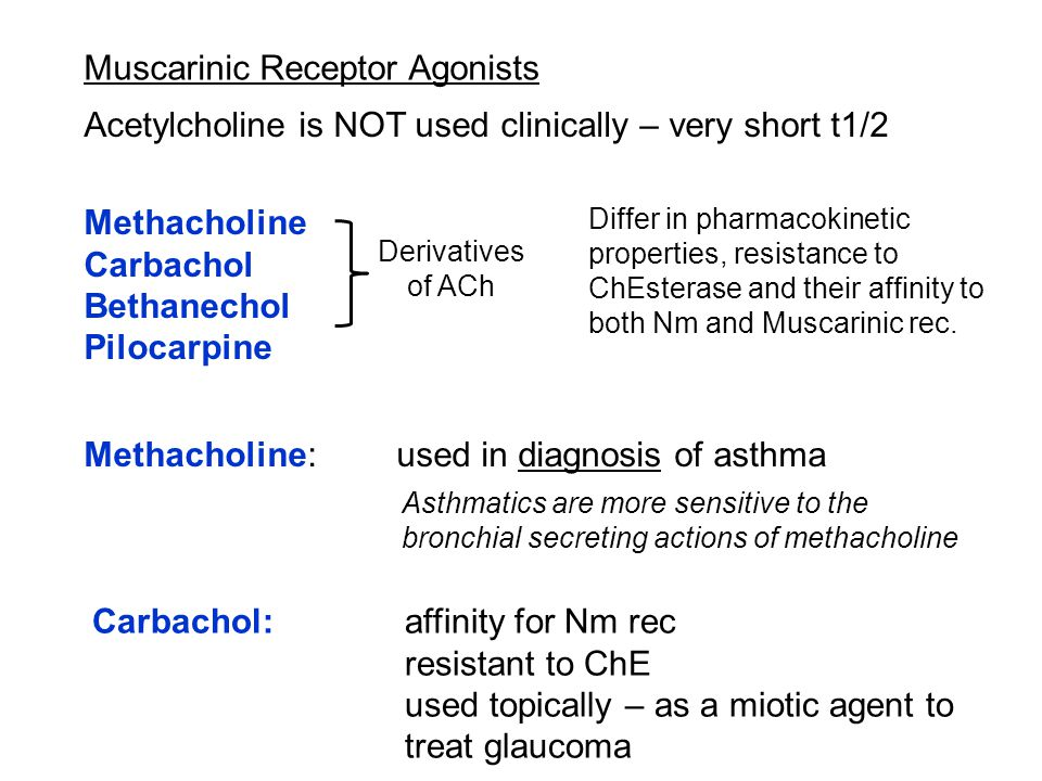 Muscarinic Receptor Agonists Methacholine Carbachol Bethanechol Pilocarpine Derivatives of ACh Acetylcholine is NOT used clinically – very short t1/2