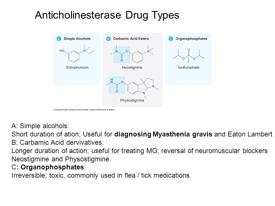 Anticholinesterase Drug Types A: Simple alcohols: Short duration of ation; Useful for diagnosing Myasthenia gravis and Eaton Lambert B: Carbamic Acid dervivatives: Longer duration of action; useful for treating MG; reversal of neuromuscular blockers Neostigmine and Physostigmine.