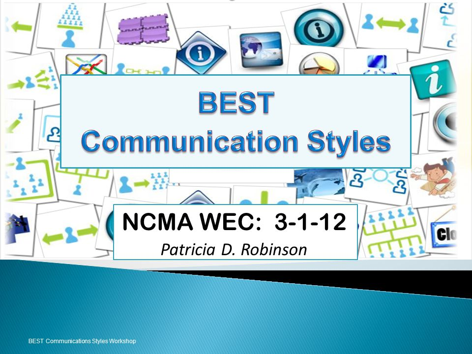 BEST Communications Styles Workshop NCMA WEC: 3-1-12 Patricia D. Robinson