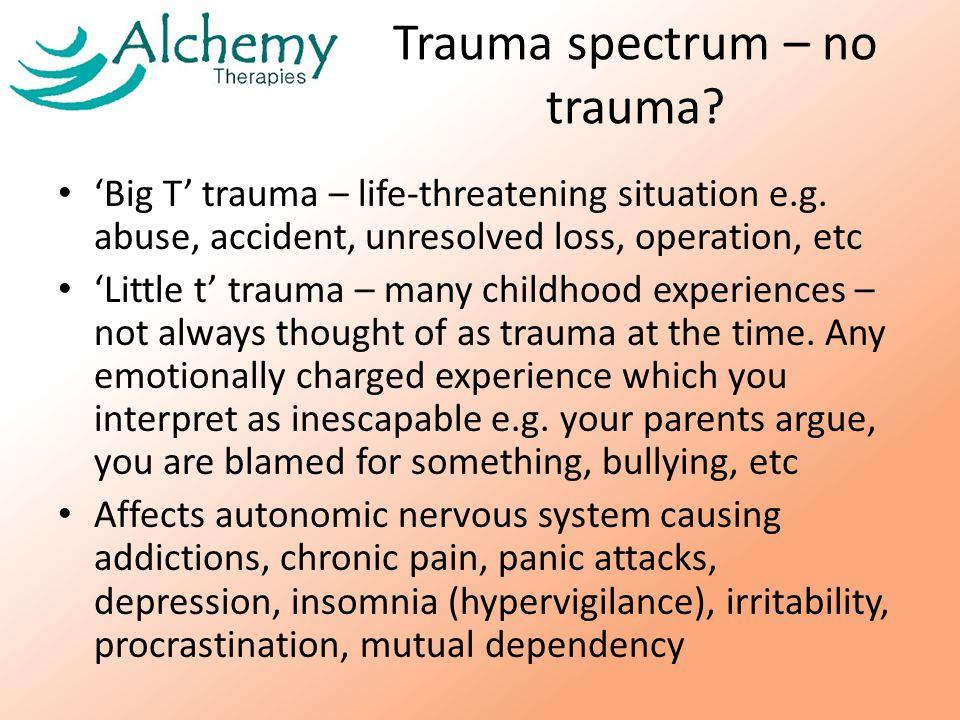 Trauma spectrum – no trauma. 'Big T' trauma – life-threatening situation e.g.