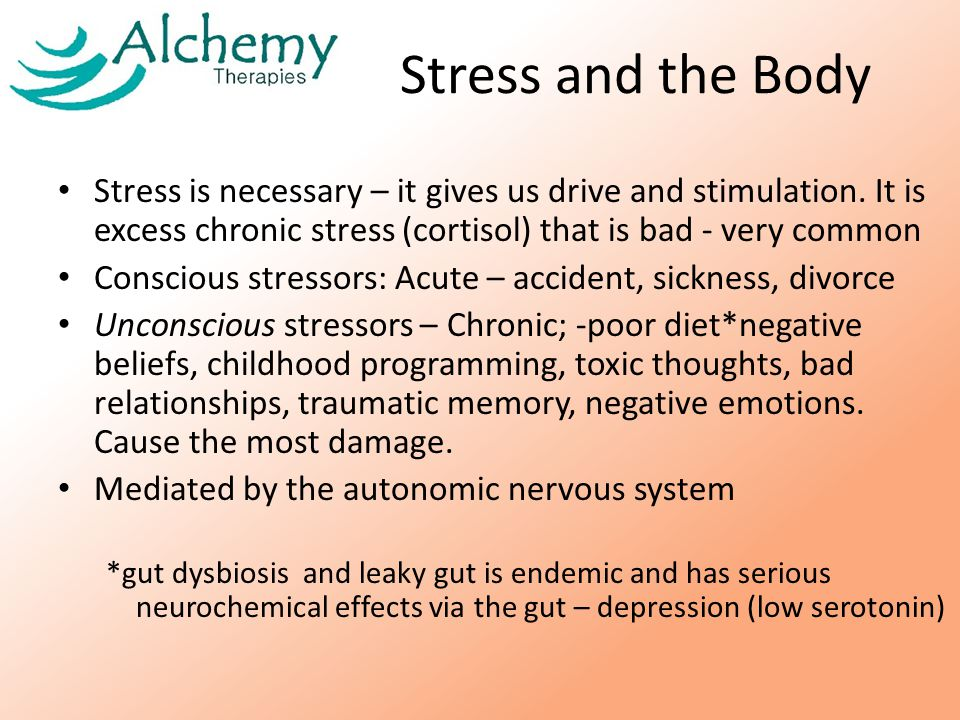 Stress and the Body Stress is necessary – it gives us drive and stimulation.
